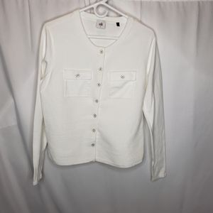 Cabi 5145 white fencing button up cardigan